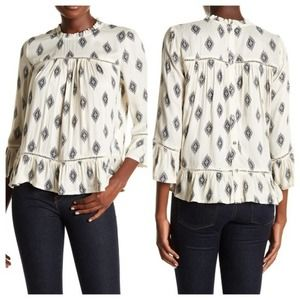 Lucky Brand Medallion Blouse Ivory Blue Size Small